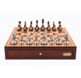 "Dal Rossi Italy Red Mahogany Finish chess box with compartments 18"" with Staunton Metal/Marble Finish Chessmen"