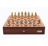 "Dal Rossi Italy Red Mahogany Finish chess box with compartments 18"" with Medieval Warriors Resin Chessmen"