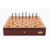 "Dal Rossi Italy Red Mahogany Finish chess box with compartments 18"" with Sleek Design Brass Chessmen"