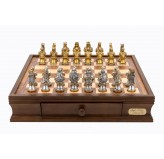 "Dal Rossi Italy chess box with drawers 16"" With Medieval Warriors Resin Chessmen"