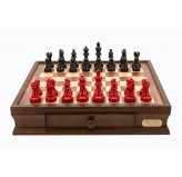 "Dal Rossi Italy chess box with drawers 16"" with French Lardy Black/Red 85mm Chessmen"