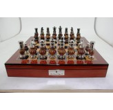 "Dal Rossi LARGE Metal Wood Chess Set With compartments 20"" Walnut Finish"