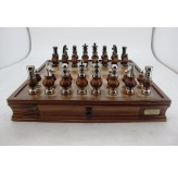 "Dal Rossi LARGE Metal Wood Chess Set With Two Drawers 20"" Walnut Finish"