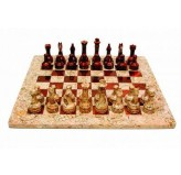 """Chess set, Onyx, 12"""" Fossil /Red"""