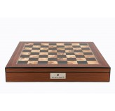 "Dal Rossi Italy Chess Box Walnut Finish Chess Box 20"" with compartments"