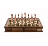 "Dal Rossi Italy Chess Set 20"", With Bronze & Copper Weighted Chess Pieces 101mm pieces"