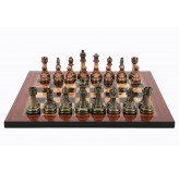 Dal Rossi Italy Antique Chess Pieces on Walnut Finish Chess Board 40cm