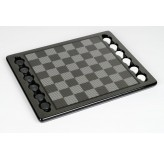 Dal Rossi Italy Carbon Fibre Checkers Set, board and pieces
